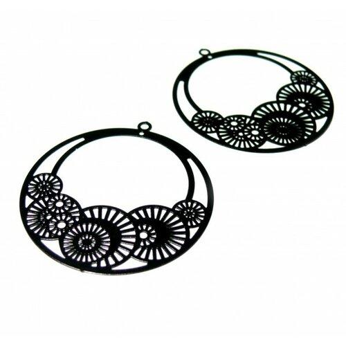 Ps110146649 pax de 4 estampes pendentif filigrane cercle fleur d'osaka 42mm noire