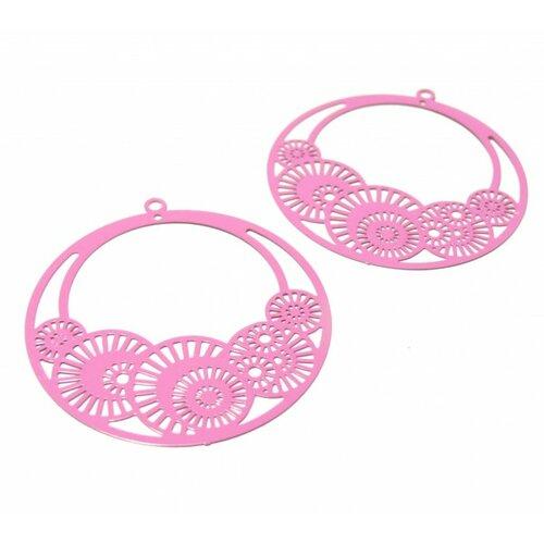 Ps110146652 pax de 4 estampes pendentif filigrane cercle fleur d'osaka 42mm rose