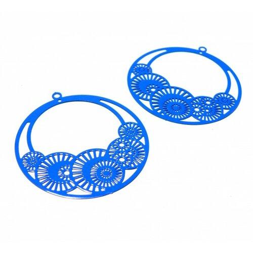Ps110146650 pax de 4 estampes pendentif filigrane cercle fleur d'osaka 42mm bleu