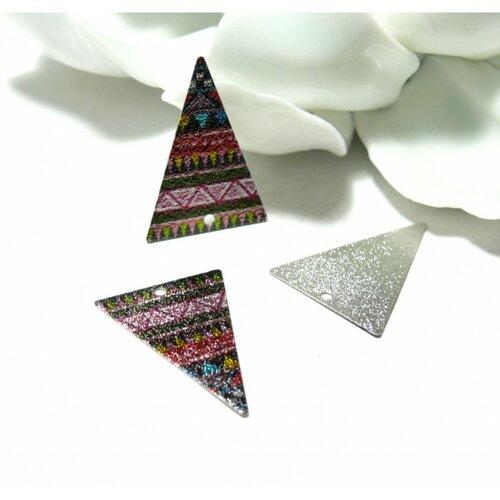 Ps11018226 pax 5 pendentifs breloques stardust grand triangle 25mm geometrique argenté