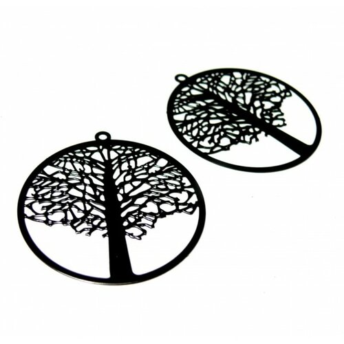 Ps110146648 pax de 4 estampes pendentif filigrane cercle arbre noires 42mm