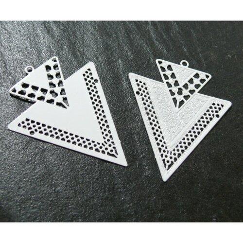 Ps110146623 lot 4 estampes pendentif geometrique double triangle de 40mm couleur blanc