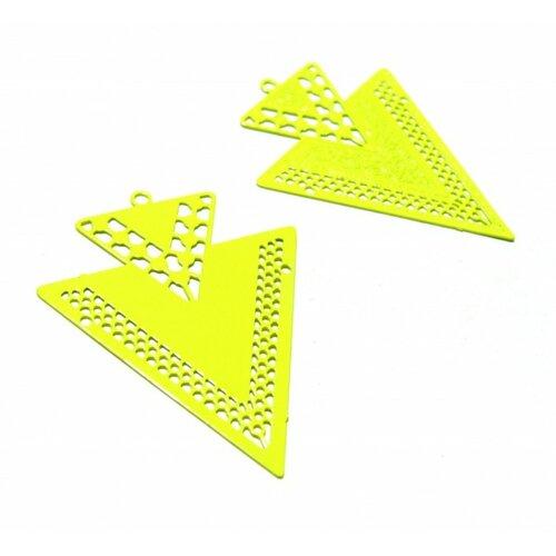 Ps110146621 lot 4 estampes pendentif geometrique double triangle de 40mm jaune