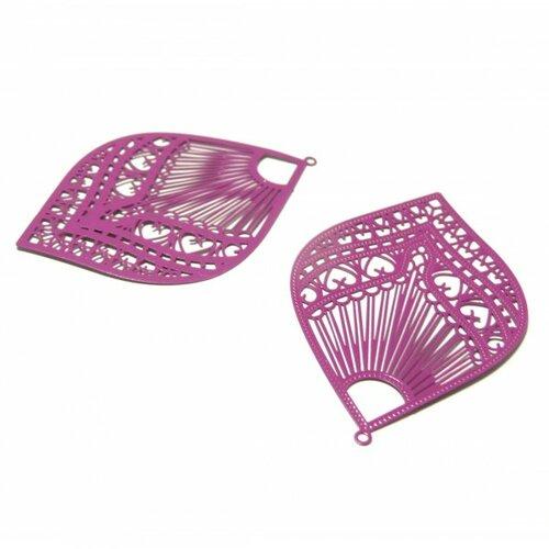 Ps110146619 pax 4 estampes pendentif filigrane grand eventail orchidee pourpre 39 par 59mm