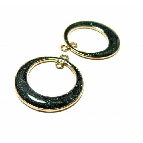 Ps11105677 pax 4 pendentifs connecteur cercle resine noir pailleté de vert 25mm couleur doré