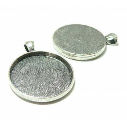 Ps1118158 pax 4 supports de pendentif rond 30mm couleur argent antique qualité extra