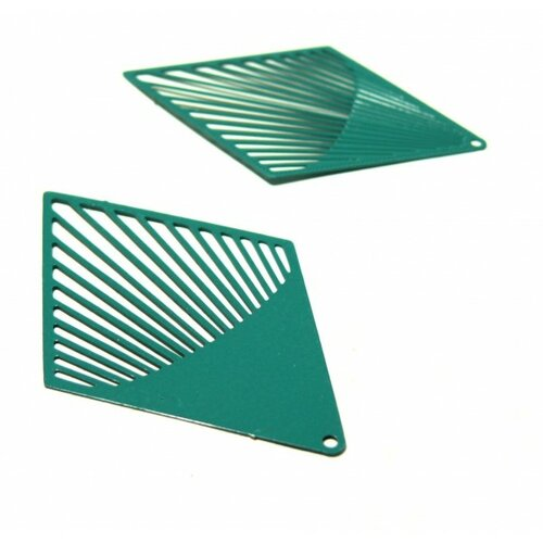Ae113484 lot de 2 estampes pendentif filigrane grand losange vert bleu canard 38 par 61mm