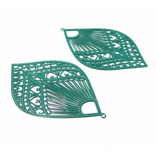 Ae113892 lot de 2 estampes pendentif filigrane grand eventail vert bleu canard 39 par 59mm