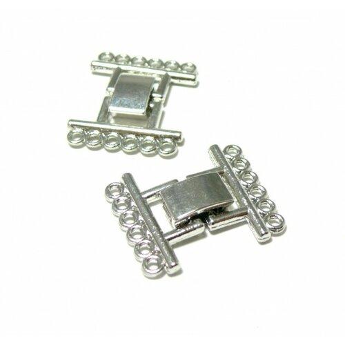 141104104440 pax 4 fermoirs clips 6 rangées métal couleur argent platine