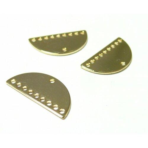 Ps110113657 pax 4 pendentifs multi connecteur demi cercle lune 21mm par 10mm 9 trous cuivre couleur doré