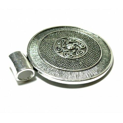 Ps1107236 pax 1 pendentif ethnique boho chic djerba 76mm couleur argent antique