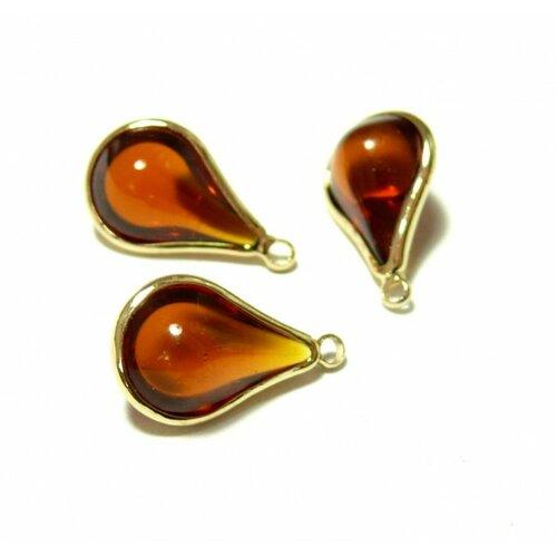 Ps11129817 pax 4 pendentifs goutte de verre ambre 18mm métal doré
