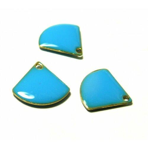S110140775 pax 10 sequins médaillons émaillés eventail 13 par 12mm bleu turquoise