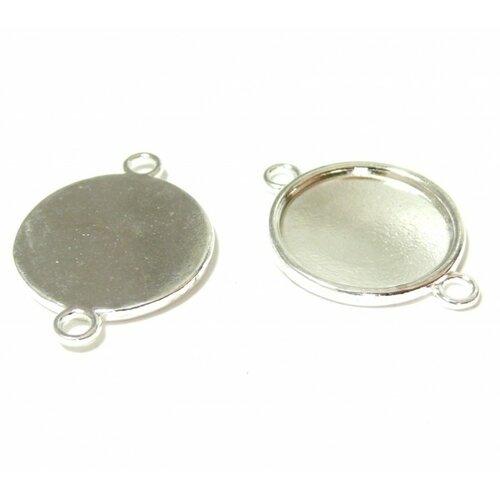 S1127514 pax 20 supports de pendentif connecteur qualité extra 20mm métal couleur argent vif