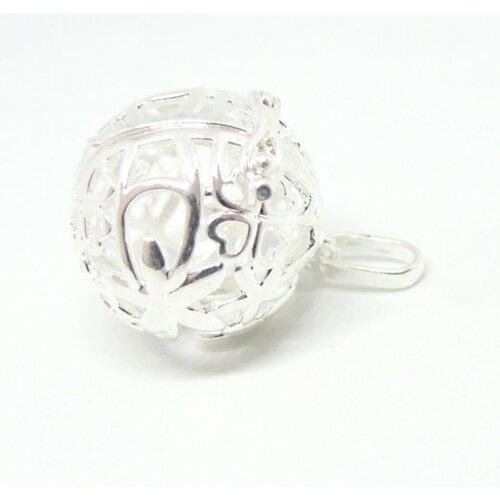 Ps110122330 pax 1 pendentif cage pour perle bola fleur et trèfle 18mm couleur argent vif