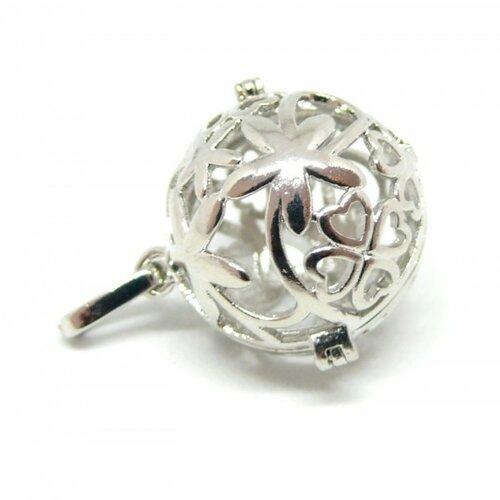 Ps110122329 pax 1 pendentif cage pour perle bola fleur et trèfle 18mm couleur argent platine