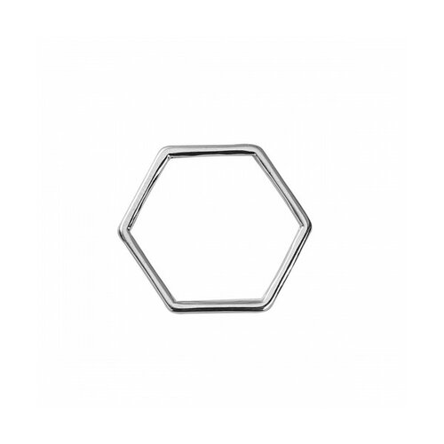 S1186561 pax 30 pendentifs anneau connecteur fermé hexagonale 11 par 10mm argent platine