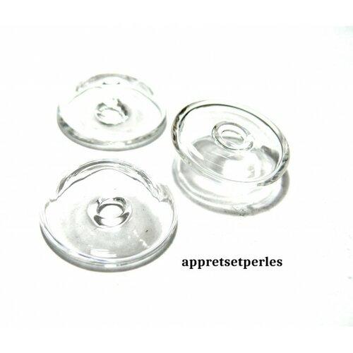 10 globes boule cabochon creux à remplir en verre 25mm x 9mm ref 36