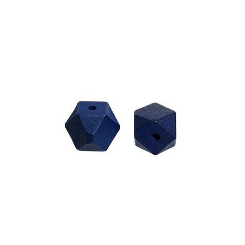Ps1177305 pax 10 perles en bois polygones bleu 20mm