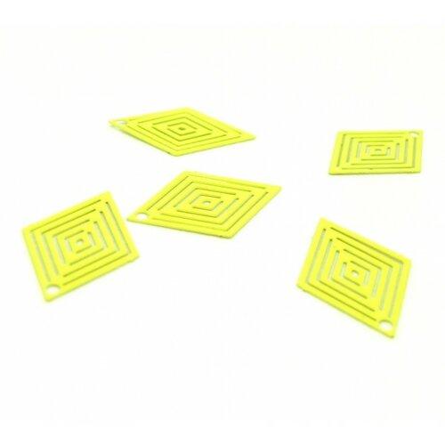 Ps110146631 pax 20 estampes pendentif filigrane petit losange jaune 19 par 14mm