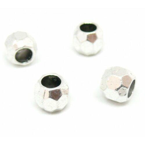 Ps110138579 pax 25 perles intercalaires a facettes 8mm trou 4,2mm métal couleur argent antique