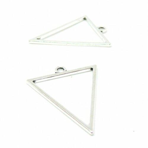 Ps110112452 pax 5 pendentifs breloque triangle travaillé 35mm métal couleur argent antique