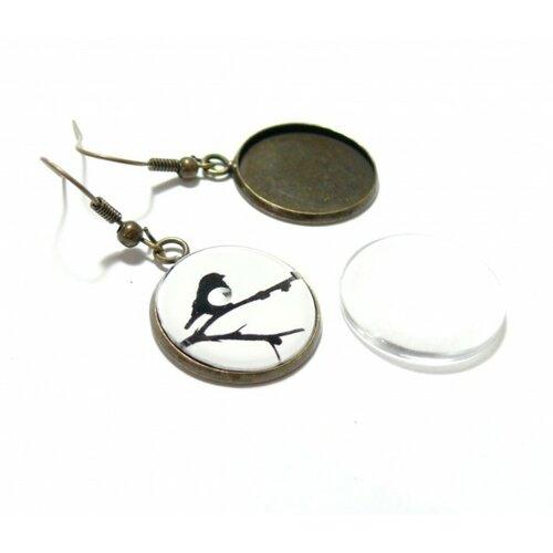Bn1130307 pax 10 boucles d'oreille crochet qualité laiton 14mm métal couleur bronze