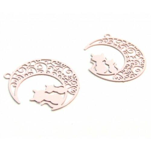 Ae116189 lot de 4 estampes pendentif filigrane chats et lune rose claire 20 par 25mm