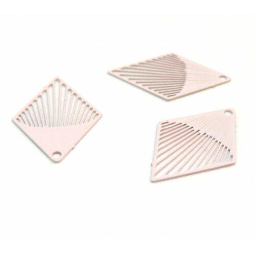 Ae116431 lot de 10 estampes pendentif filigrane petit losange rose clair 20 par 18mm