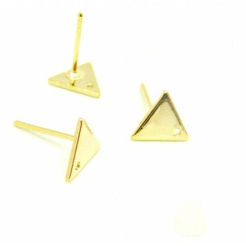 Ps110143460 pax 2 paires boucle d'oreille puce triangle 12mm cuivre couleur doré avec trou et embouts poussoirs