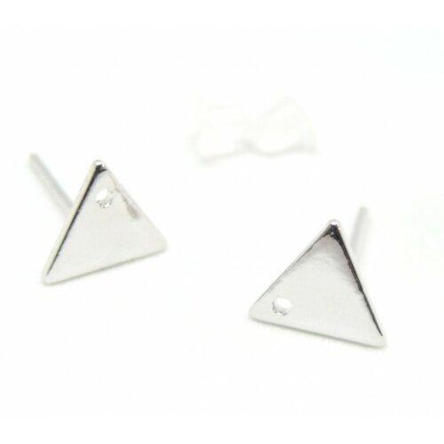 Ps110143459 pax 2 paires boucle d'oreille puce triangle 12mm cuivre couleur argent platine avec trou et embouts poussoirs