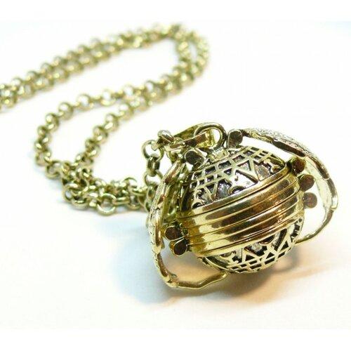 Ps110145695 pax 1 sautoir chaine et pendentif cage porte-photos avec ailes cuivre couleur bronze doré