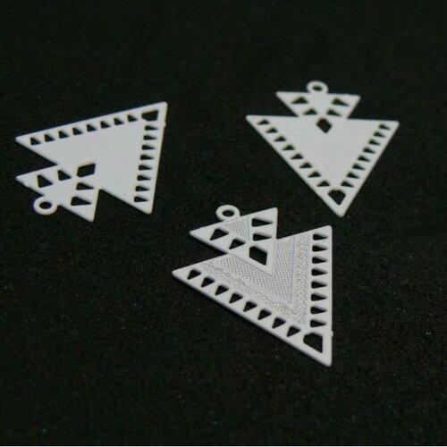 Ae1110451 lot 4 estampes pendentif geometrique double triangle petit modèle 20 par 17mm blanc