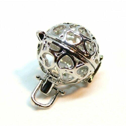 Ps110122322 pax 1 pendentif cage bola coeur pour perles 12mm metal couleur argent platine