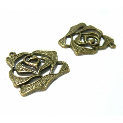 Qa1937 pax 10 pendentifs breloque fleur rose métal couleur bronze