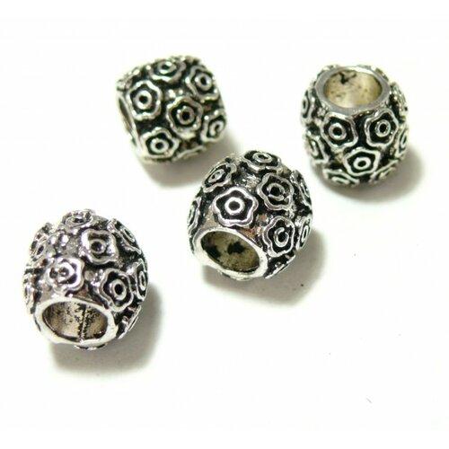 120709102604 pax 10 perles intercalaires tonneau multifleurs grand trou: 5mm métal couleur argent antique