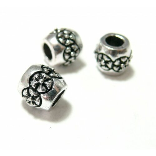 121218180006 pax 10 perles intercalaires tonneau fleurs grand trou: 4mm métal couleur argent antique