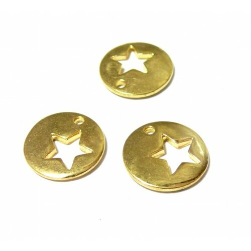 Ps110141738 pax 10 pendentifs breloque médaillon avec etoile 15mm metal couleur doré