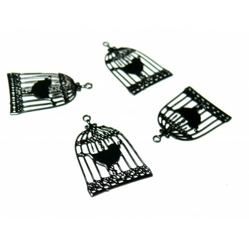 Ae112944 lot de 4 estampes pendentif filigrane cage et oiseau couleur noir 23 par 15mm