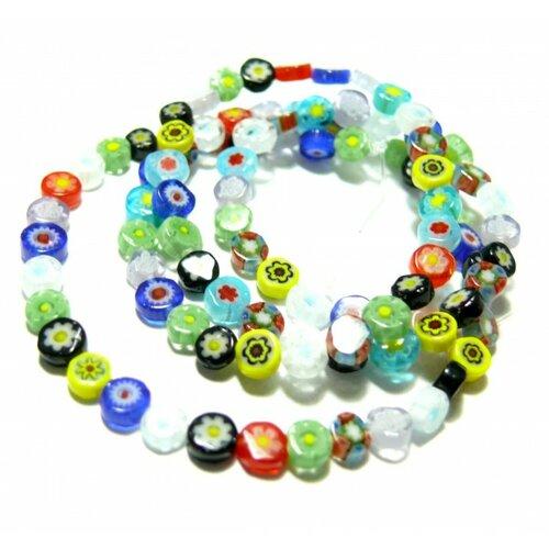 Hk023014 1 fil d'environ 95 perles ronde plates millefiori multicolores 4mm