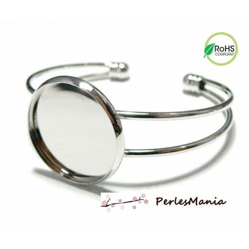 Bn1123441 pax 1 support de bracelet laiton 16mm couleur argent platine pour collage digitale