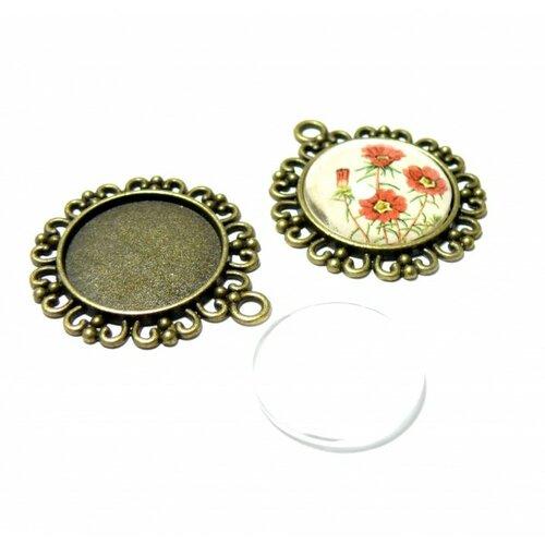 150509112953 20 pièces: lot de 10 supports de pendentifs arty rond 20mm metal couleur bronze et 10 cabochons