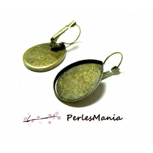 Bn1129666 pax 10 pièces boucle d'oreille dormeuse plateau forme goutte 18 par 25mm bronze
