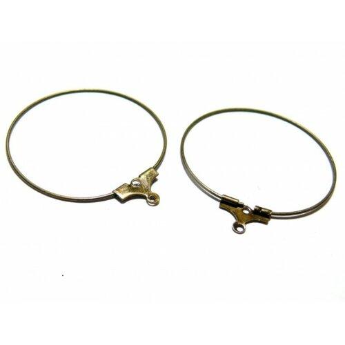 Bn1133868 pax 20 boucles d'oreilles creoles cintres 20mm bronze qualité laiton