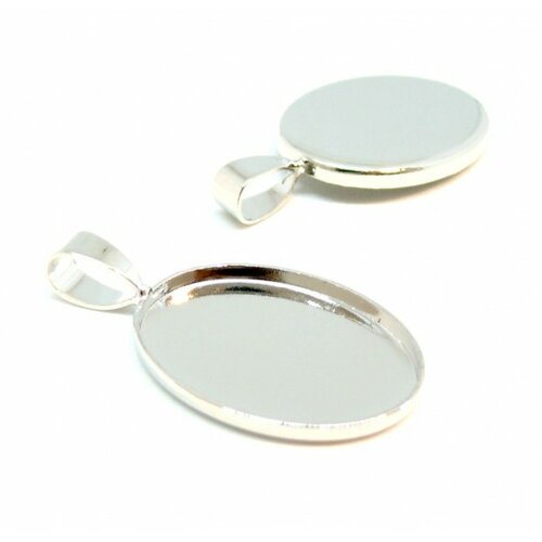 Bn118944 pax 10 supports de pendentifs ovales 18 par 25mm attache triangle métal couleur argent vif
