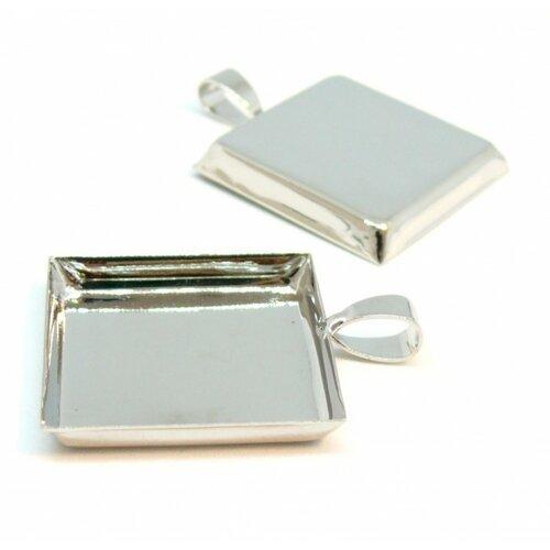 Bn111897 pax 5 supports de pendentif carre en 25mm bord épais attache triangle laiton couleur argent platine