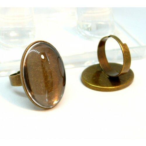 20 pièces: bn1129031 pax 10 supports de bague ovale qualité 18 par 25mm couleur bronze et 10 cabochons