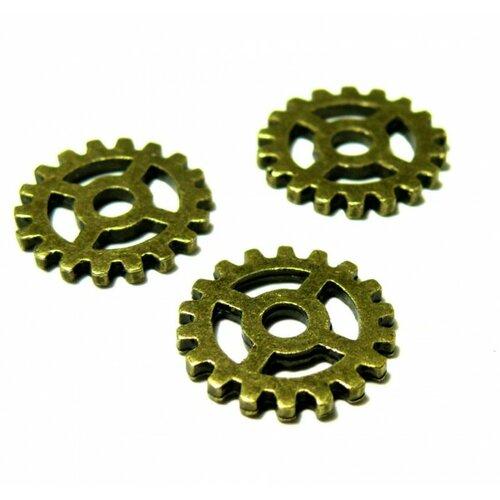Ps1138665 pax 25 connecteurs pendentifs engrenage steampunk métal couleur bronze