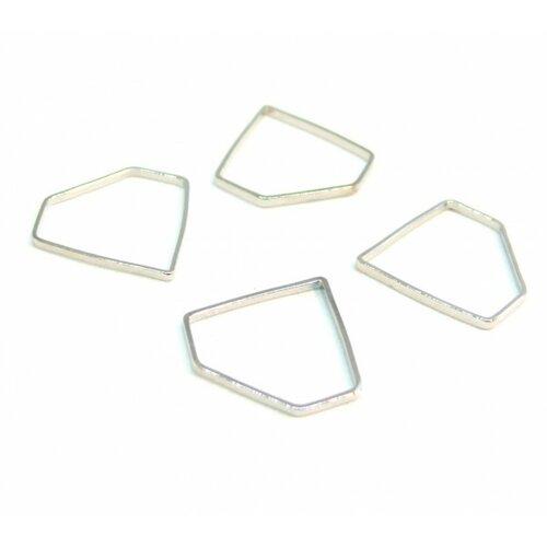 170927093747 pax 10 pendentifs connecteur fermé forme diamant 15mm couleur argent platine qualité laiton