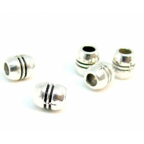 Ps110201265 pax 50 perles intercalaires tonneau à stries 6mm métal couleur argent antique